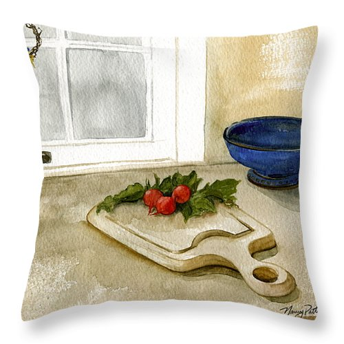Radish Throw Pillow featuring the painting Fresh Radishes by Nancy Patterson