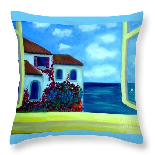 Seascape Throw Pillow featuring the painting Fresh Sea Air by Laurie Morgan