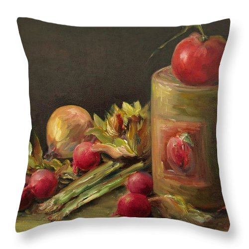Still Life Throw Pillow featuring the painting Freshly Picked by Mary Wolf