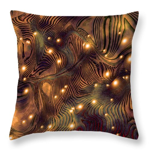 Abstract Digital Art Painting Brown Gold Freshwater Fish Lights Texture Throw Pillow featuring the painting Freshwater by Susan Epps Oliver