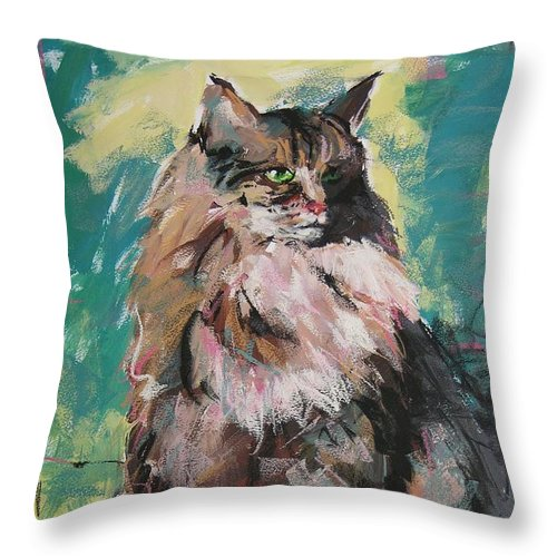 Cat Throw Pillow featuring the painting Friday Lioness by Mary McInnis