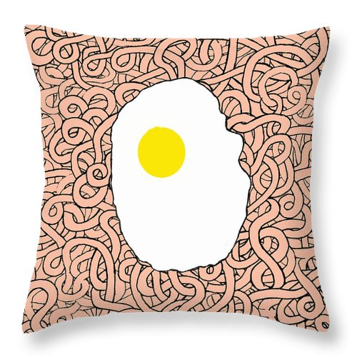 Egg Throw Pillow featuring the digital art Fried Egg And Spaghetti In Tomato Sauce by Andy Mercer