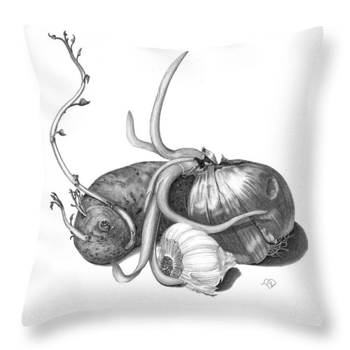 Tater Throw Pillow featuring the drawing Fried Sweet Taters by Becky Eileen Eller
