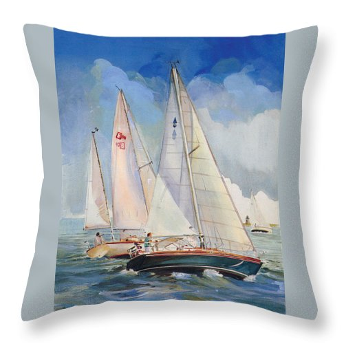 Sailing Throw Pillow featuring the painting Friendly Competition by P Anthony Visco