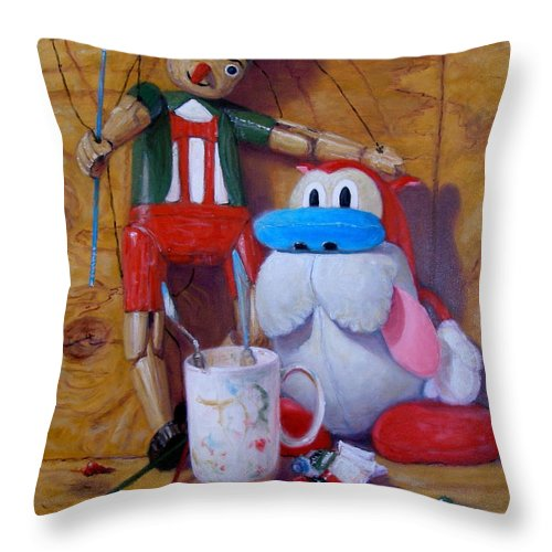 Realism Throw Pillow featuring the painting Friends 2 - Pinocchio And Stimpy  by Donelli DiMaria