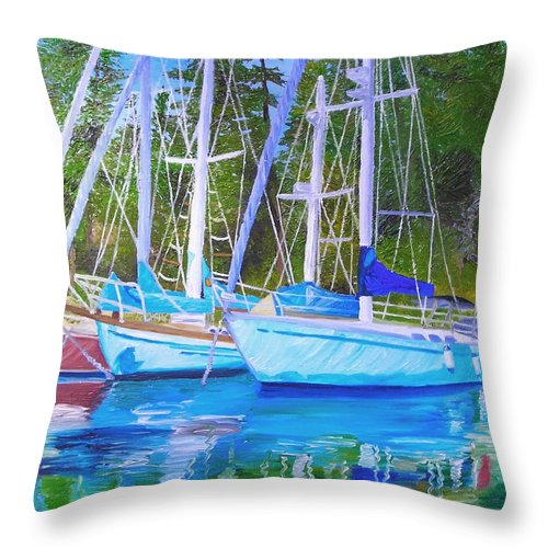 Sail Boats Throw Pillow featuring the painting Friends Anchored by Michael Lee