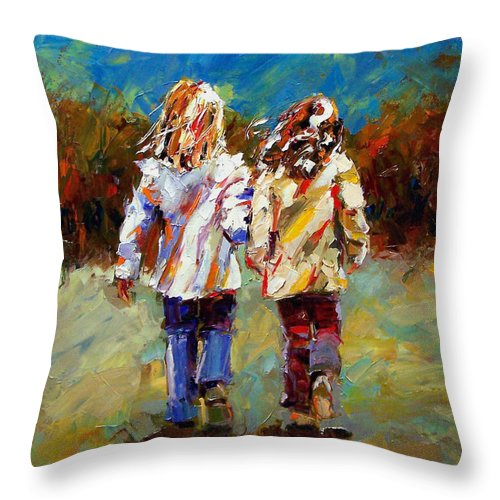 Girls Throw Pillow featuring the painting Friends Forever by Debra Hurd