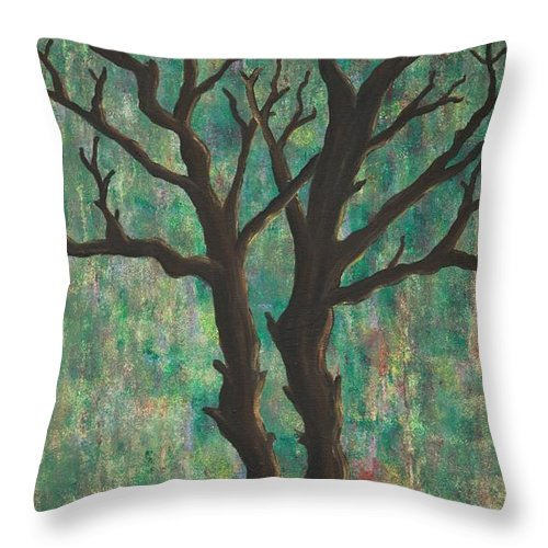 Trees Throw Pillow featuring the painting Friends by Jacqueline Athmann