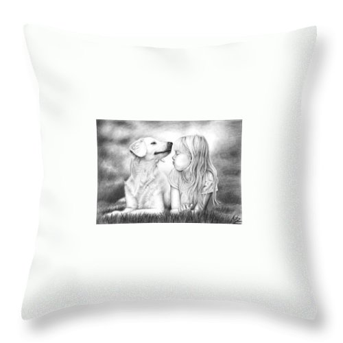 Dog Throw Pillow featuring the drawing Friends by Nicole Zeug
