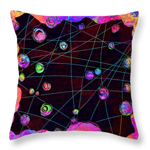 Abstract Throw Pillow featuring the digital art Friends by William Russell Nowicki