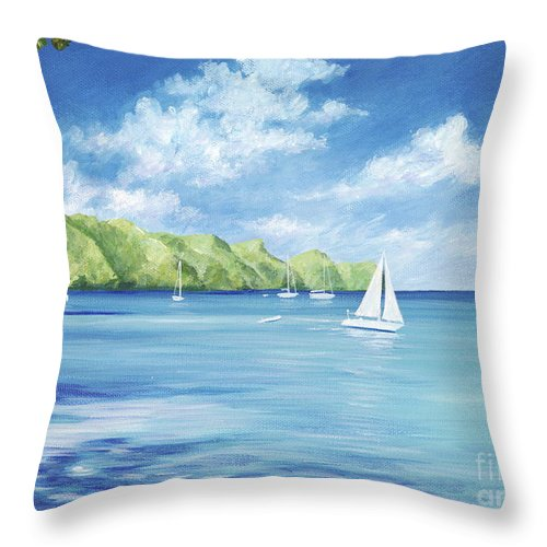 Nautical Seascape Throw Pillow featuring the painting Friendship Bay by Danielle Perry