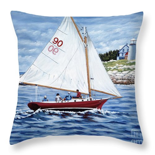 Sailboat Throw Pillow featuring the painting Friendship Sloop by Danielle Perry