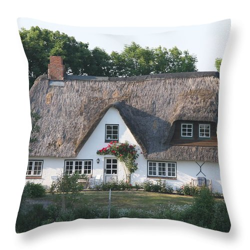 Thatched Roof House Throw Pillow featuring the photograph Friesian House by Christiane Schulze Art And Photography