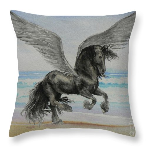 Friesian Throw Pillow featuring the painting Friesian Pegasus by Louise Green