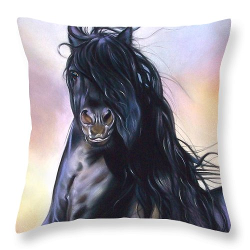 Horse Throw Pillow featuring the pastel Friesian Spirit by Elena Kolotusha