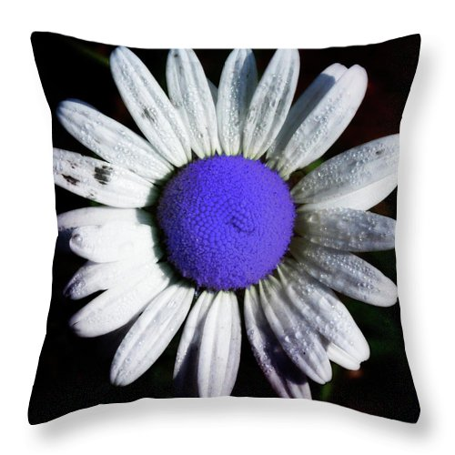 Flower Throw Pillow featuring the photograph Fringe - Blue Flower by Bill Cannon