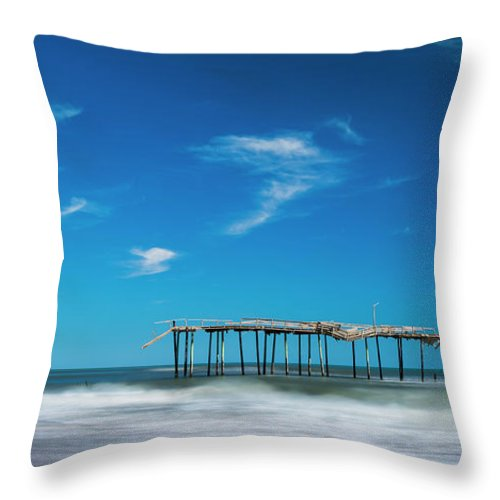 Outer Banks Throw Pillow featuring the photograph Frisco Fishing Pier In North Carolina Panorama by Ranjay Mitra