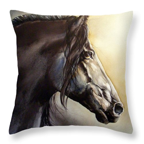 Watercolor Throw Pillow featuring the painting Frison by Fabien Petillion
