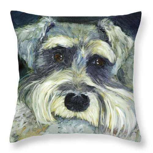 Pet Portrait Throw Pillow featuring the painting Fritz by Vicki VanDeBerghe
