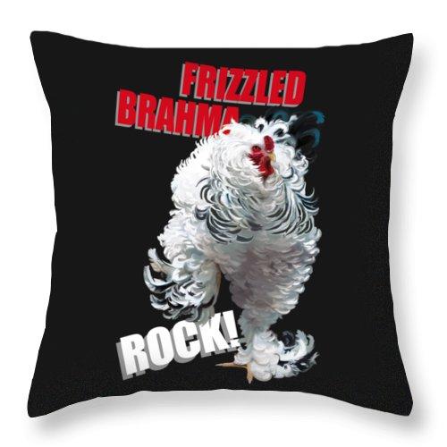Frizzled Brahma Light Brahma Throw Pillow featuring the digital art Frizzled Brahma T-shirt Print by Sigrid Van Dort