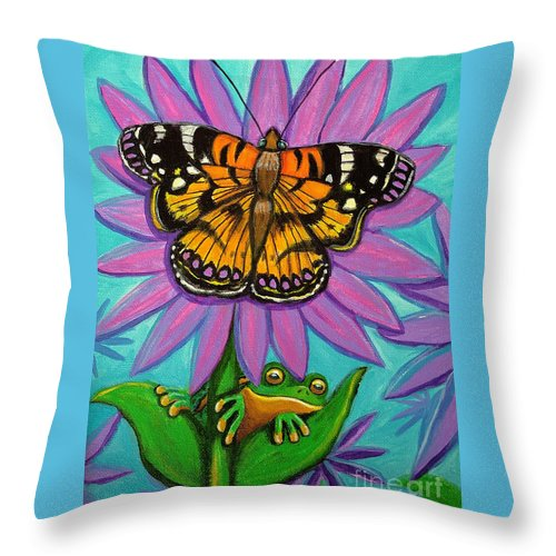 Frog And Butterfly Painting Throw Pillow featuring the painting Frog And Butterfly by Nick Gustafson