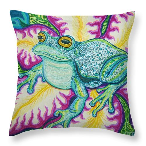 Frog And Flower Art Throw Pillow featuring the drawing Frog And Flower by Nick Gustafson