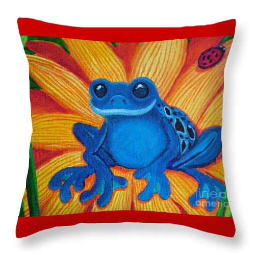Frog And Flower Painting Throw Pillow featuring the painting Frog And Lady Bug by Nick Gustafson