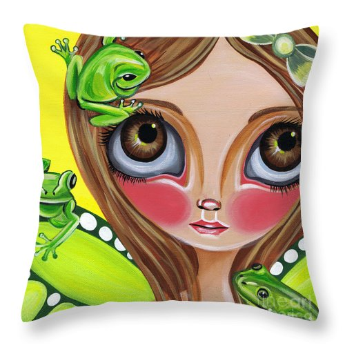 Frog Throw Pillow featuring the painting Frog Fairy by Jaz Higgins