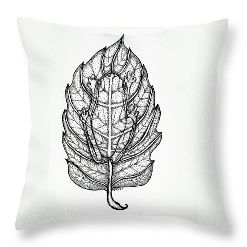 Frog Throw Pillow featuring the drawing Frog On A Leaf by Nick Gustafson