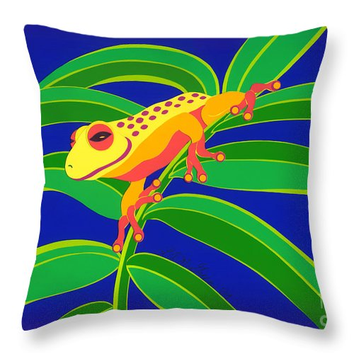 Nature Throw Pillow featuring the drawing Frog On Branch by Lucyna A M Green