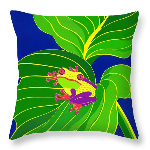Nature Throw Pillow featuring the drawing Frog On Leaf by Lucyna A M Green