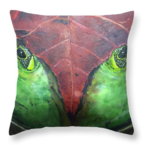 Frog Leaf Nature Throw Pillow featuring the painting Frog With Leaf by Dennis Wilson