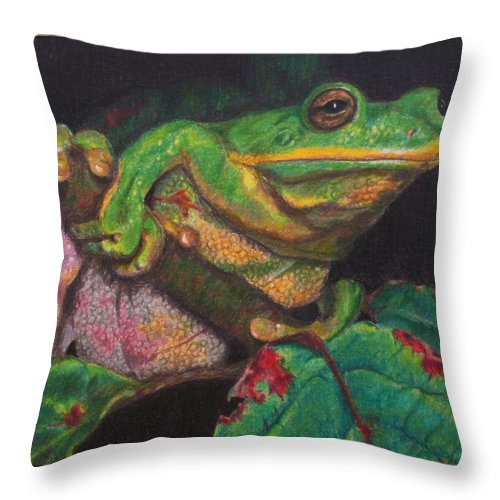 Frog Throw Pillow featuring the painting Froggie by Karen Ilari