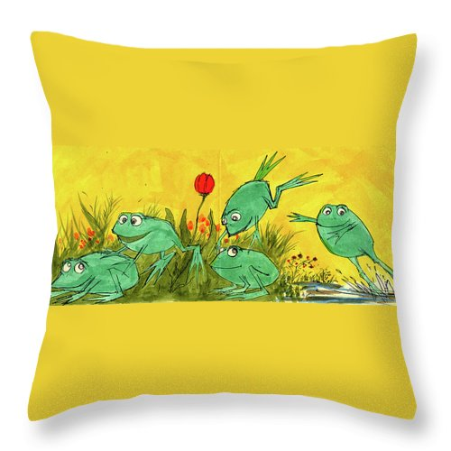 Throw Pillow featuring the painting Frogs by Charles Cater