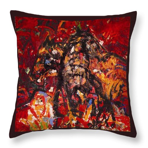 Horse Throw Pillow featuring the painting Frolicking Outdoors by Vladimir Vlahovic