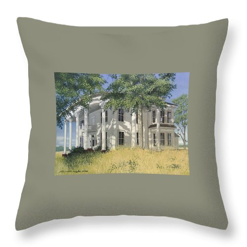 Landscape Throw Pillow featuring the painting From A By-gone Era by Peter Muzyka