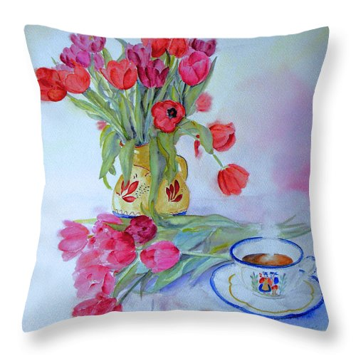 Still Life Throw Pillow featuring the painting From Amsterdam by Beatrice Cloake