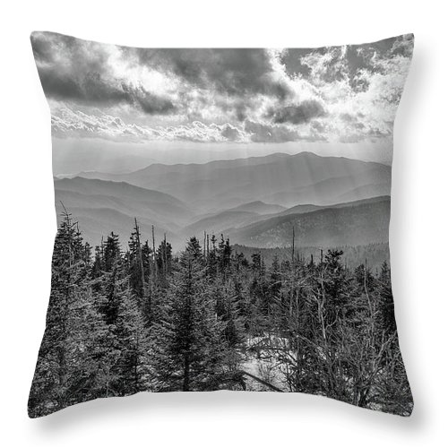 Bw Photography Throw Pillow featuring the photograph From Clingmans Dome by Chilehead Photography