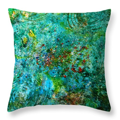 Abstract Yupo Paper Circles Green Red Yellow Blue Landscape Modern Pop Throw Pillow featuring the photograph From Here To Eternity by Manjiri Kanvinde