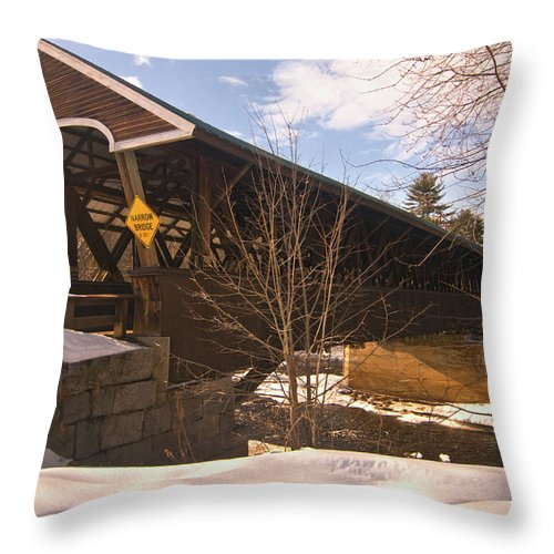 new England Covered Bridges Throw Pillow featuring the photograph From Here To There by Paul Mangold