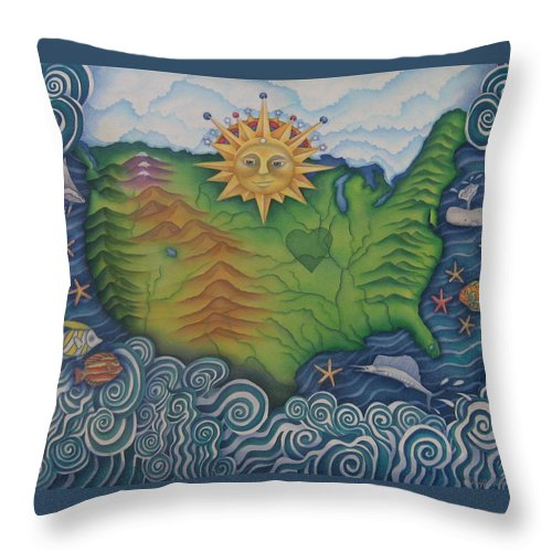Map Throw Pillow featuring the painting From Sea To Shining Sea by Jeniffer Stapher-Thomas