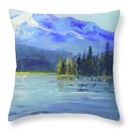 Oregon Landscape Painting Throw Pillow featuring the painting From Sparks Lake by Nancy Merkle