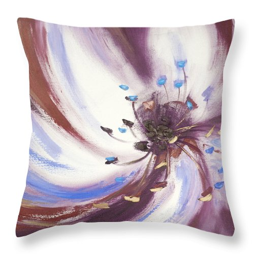 Brown Throw Pillow featuring the painting From The Heart Of A Flower Brown 2 by Gina De Gorna