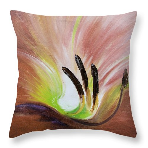 Brown Throw Pillow featuring the painting From The Heart Of A Flower Brown 3 by Gina De Gorna
