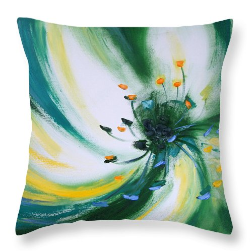 Green Throw Pillow featuring the painting From The Heart Of A Flower Green by Gina De Gorna