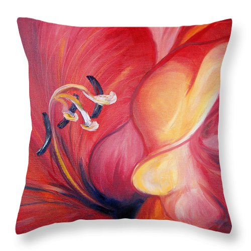 Red Throw Pillow featuring the painting From The Heart Of A Flower Red by Gina De Gorna
