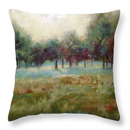 Country Scenes Throw Pillow featuring the painting From The Other Side by Ginger Concepcion