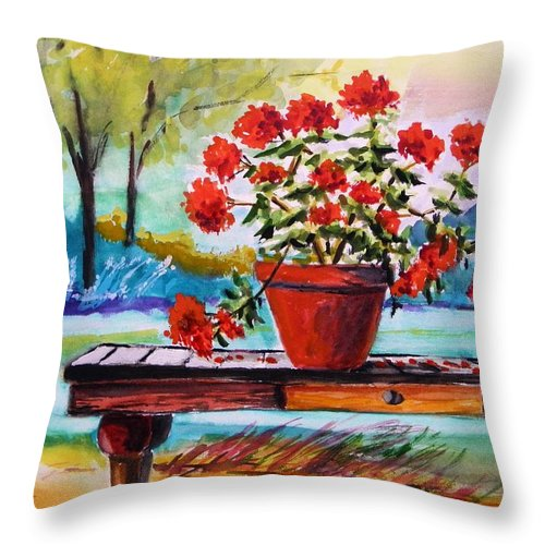 Geranium Throw Pillow featuring the painting From The Potting Shed by John Williams