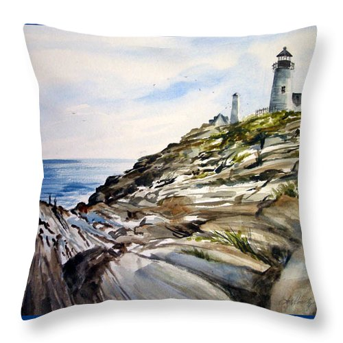 Pemaquid Light House;rocks;ocean;maine;pemaquid;light;lighthouse; Throw Pillow featuring the painting From The Rocks Below by Lois Mountz