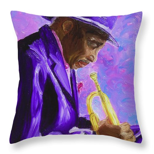 Street Musician Trumpet Player Throw Pillow featuring the painting From The Soul by Michael Lee